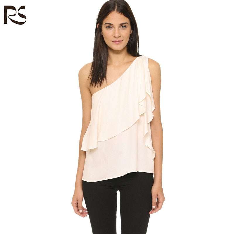Fashion women one shoulder chiffon blouse designs