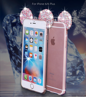 New Design Diamond Bling Rhinestone Mickey Ears TPU Case For Iphone 6