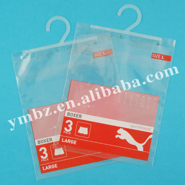 CPP self-adhesive plastic underwear bag with printing brand logo