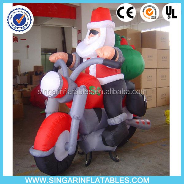 Inflatable motocycle santa/moving santa claus
