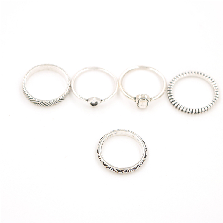 New Vintage Unique Tibetan Silver Plated Ring Set for Women Jewelry Punk Finger