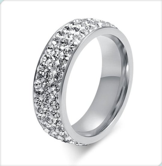 Special offer latest elegant stainless steel silver popular design crystal diamond ring