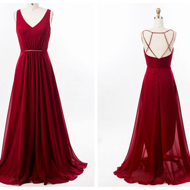 Hot Sale Red A-Line Chiffon Sleeveless Long Bridesmaid Dresses With beaded