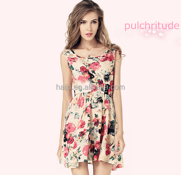 2016 new style cheap women casual one piece dress in floral print
