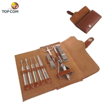 11 pcs Luxury Manicure Pedicure Set Deluxe Brown Leather Nail Care Personal Manicure Travel Grooming Kit Nail clippers Set
