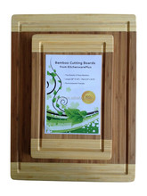 Extra Large Bamboo Cutting Board Set. Eco-friendly Bamboo . Meat, Bread and Vegetable Cutting Boards with Drip Groove