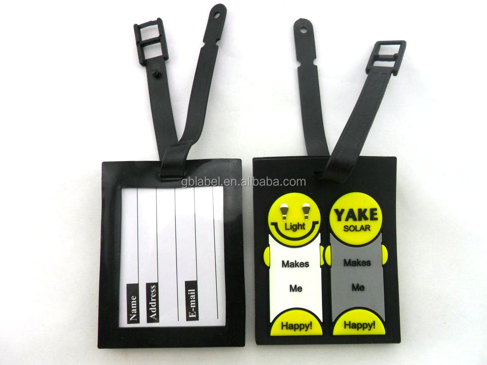 Black background personalized 3d pvc luggage tag