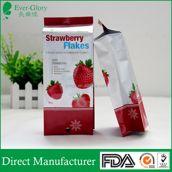 Customized food grade CMYK aluminium foil food bag for dry strawberry