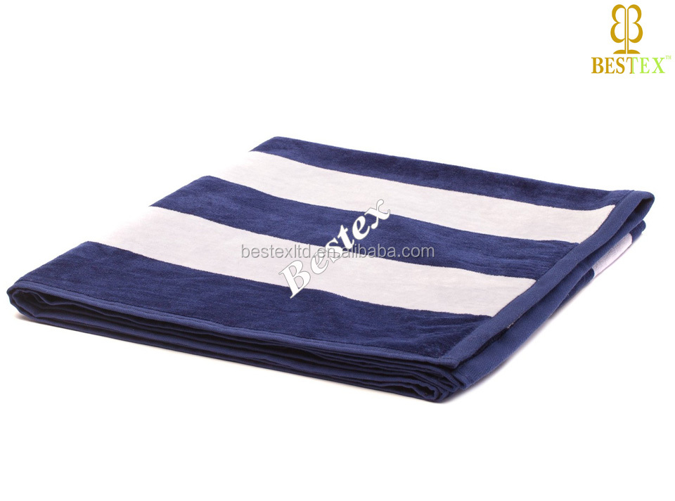 Thin Extra large blue and white stripe design your own beach towel