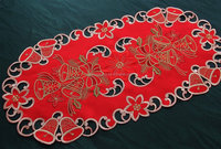 christmas embroidered tablerunners with hand cutwork