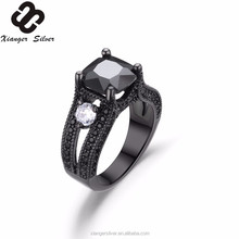 Black gold plated cubic zirconia 925 sun silver rings jewelry with cz