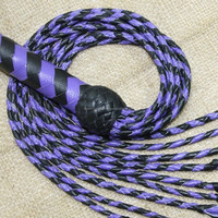 Genuine Real Leather Flogger Bull Hide Leather Whip Purple Black 09 Tails