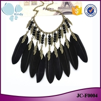 Factory wholesale zinc alloy short chain vintage black pearl bead feather necklace for women