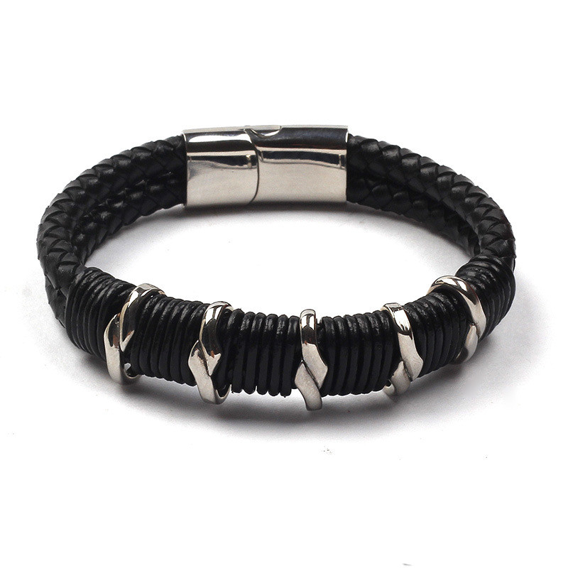 Stainless Steel PU Leather Braided Bracelet Wristband Magnetic Clasp