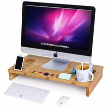 Bamboo Monitor Stand Riser with Storage Organizer , Laptop Cellphone TV Printer Stand Desktop Container