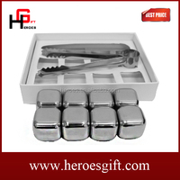 High Quality Barware 8-Piece Stainless Steel Reusable Sipping Stones Set Whiskey Rocks Stones Ice Cube Drink Chiller with Tongs