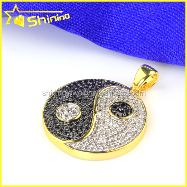 hiphop ice out cz lab diamond men's yin yang sterling silver pendant