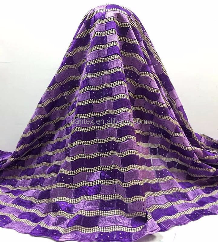 3133 Latest Beautiful embroidered net lace fabric wholesale african lace fabrics purple color for women dress