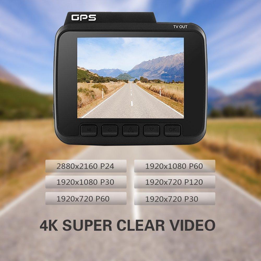 Réel 4 K Voiture Dashcam 2.4 pouce Novatek 96660 Construit en GPS Logger G-sensor WIFI Caméra Conduite Enregistreur en NOUS Entrepôt