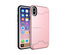 colorful armor credit card slot holder phone case For iphone x case with card and stand