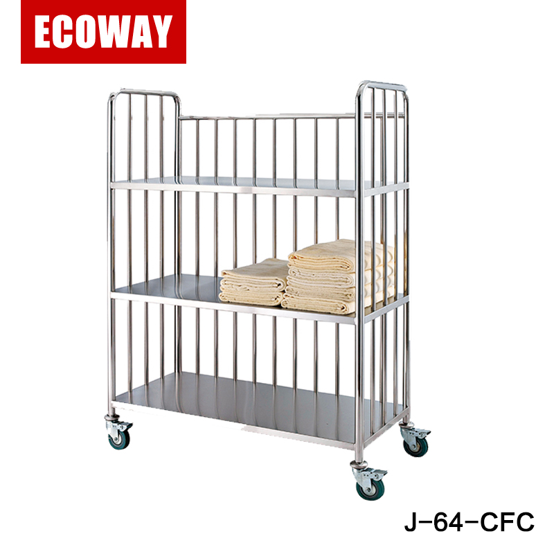 new type 3-tier stainless steel hospital linen housekeeping trolley
