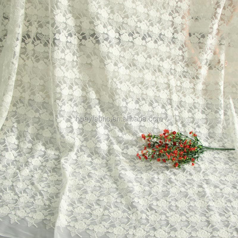 New Ivory rose flroal mesh cheap lace fabric for clothing