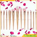 12 PCS Makeup Cosmetic Foundation Eyebrow Eyeliner Powder Blush Concealer Lip Brush Set Kit Rose Gold