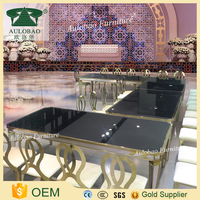 Wholesale price mirror glass used stainless steel banquet tables
