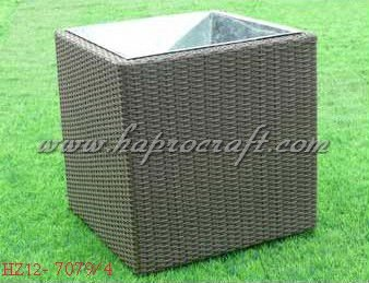 Square Zinc Planter with Poly rattan weaving