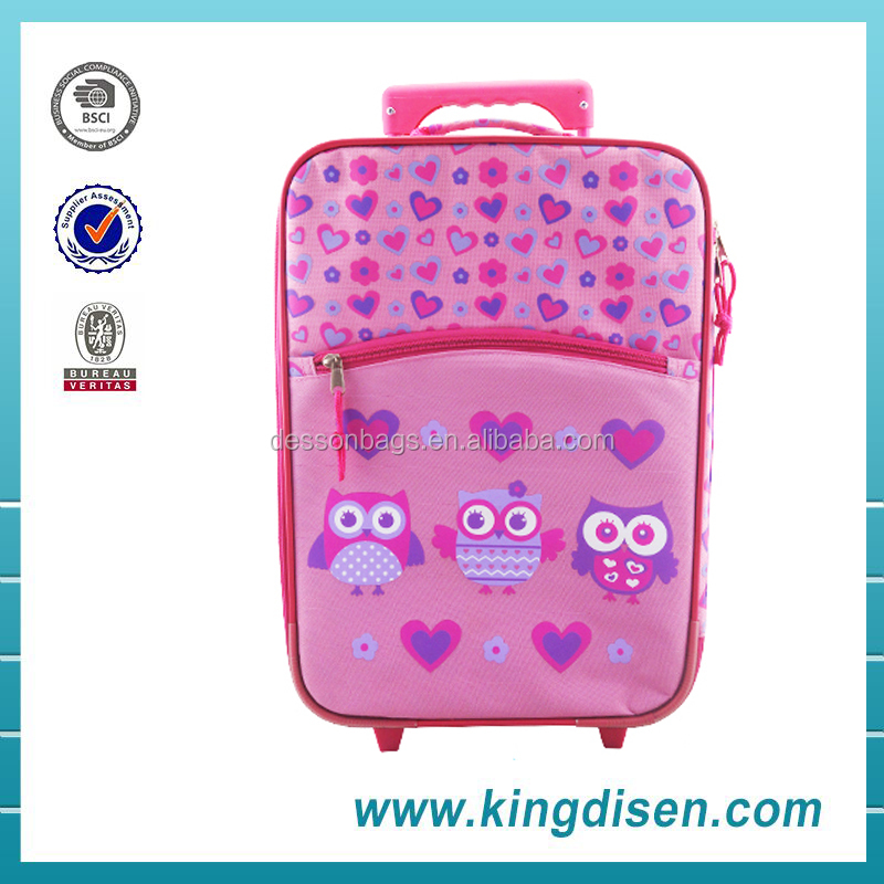 Hot selling polyester pink children travel trolley luggage bag for girls