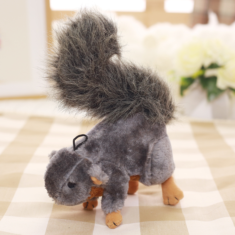 Customized Animal Cat Dog Plush Stuffed Squeaky Pet Toys Gray Squirrel Shape