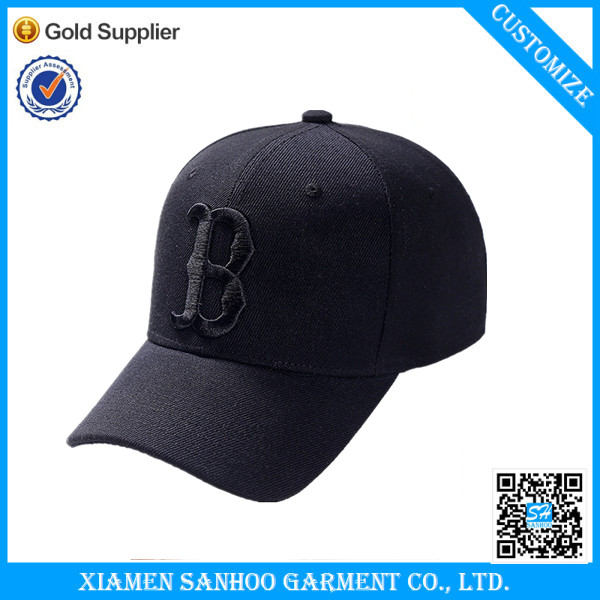 Promotional New Style High quality Black Custom Embroidered 100% Cotton 6 Panel Hats Unisex Flexfit Baseball Caps