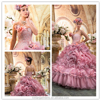 BB-0028 New Luxurious Dress High Quality Luxuriant Frill Colorful Wedding Dress with