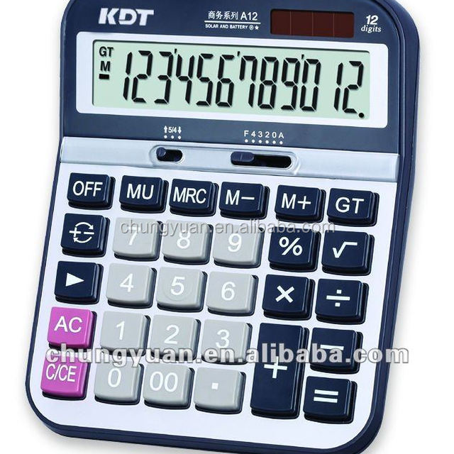 Big size 12 digits calculator with solar energy