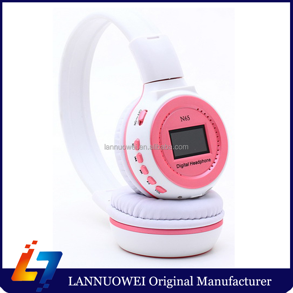 Plug Card Style Mp3 Hi-Fi Digital Stereo Music Wireless Headband Headphones N65 FM Sd Card Slot with LCD Display
