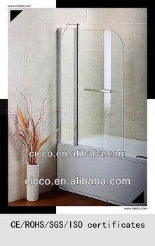 Double Overbath Screen 6mm Tempered Glass Chrome Shinning Aluminum Frame Folding Shower Door C709