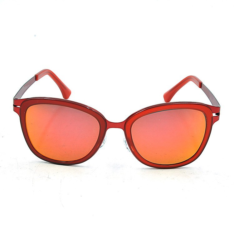 Acetate red frame mirror lenses ladies sunglasses, 2015 new sunglasses