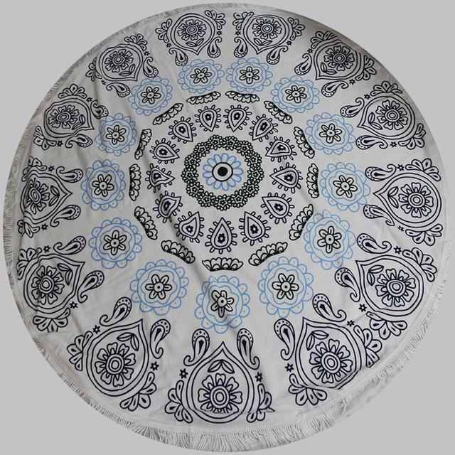 Colorful Indian Made Mandala Round Tapestry Beach Throw Yoga Mat Table Cover blanket, roundie mandala throw beach towels