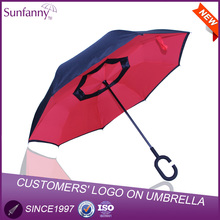 "23""*8K waterproof umbrella double layer upside-down inverted umbrella car new design innovation umbrella"