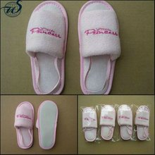Pink terry with customized logo kids bedroom slippers