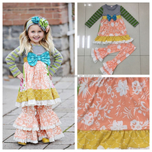 wholesale children's clothing sets cotton girl winter wear kids boutique clothes