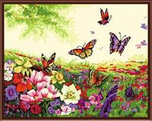 40*50 framed good quality butterfly with flower coloring by numbers paintings