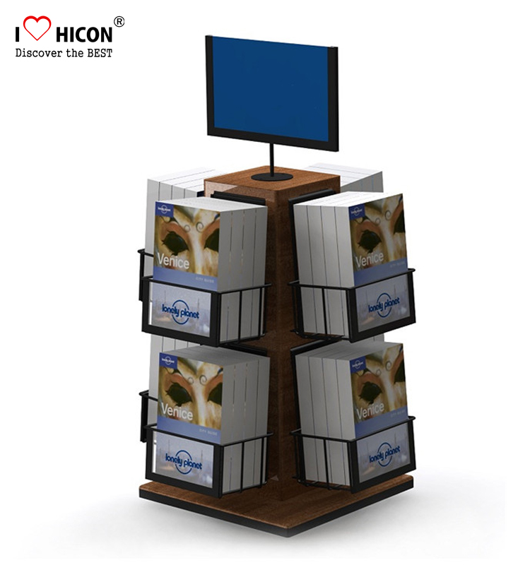 Professional Displays Manufacturing Wooden Counter Fabric Sample Book Greeting Card Display Stands