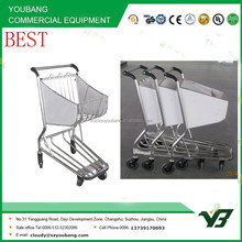 2015 New 4 wheels 201 or 304 stainless steel airport shopping cart without brake (YB-AT03)
