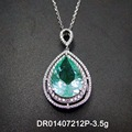Necklaces Pendants For Women's Jewelry Pear Cutting Green Spinel Round White Cubic Zirconia 925 Sterling Silver Fine Jewelry