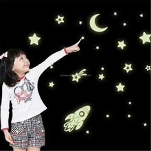 Glow in Dark Decal Sticker Earth Moon Star Comet Rockets Luminous Wall Art Decals Home Kid Room Decor for Baby Bedroom