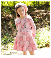 Autumn new design girl dress printing flower party princess