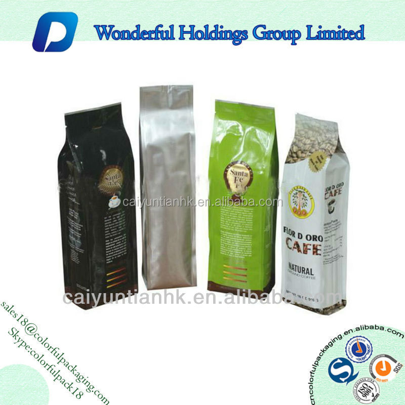 high quality aluminum foil side gusset coffee packaging bags food grade flat bottom coffee bag tin tie