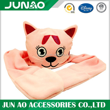 Funny animated polar fleece hat with thermal gloves