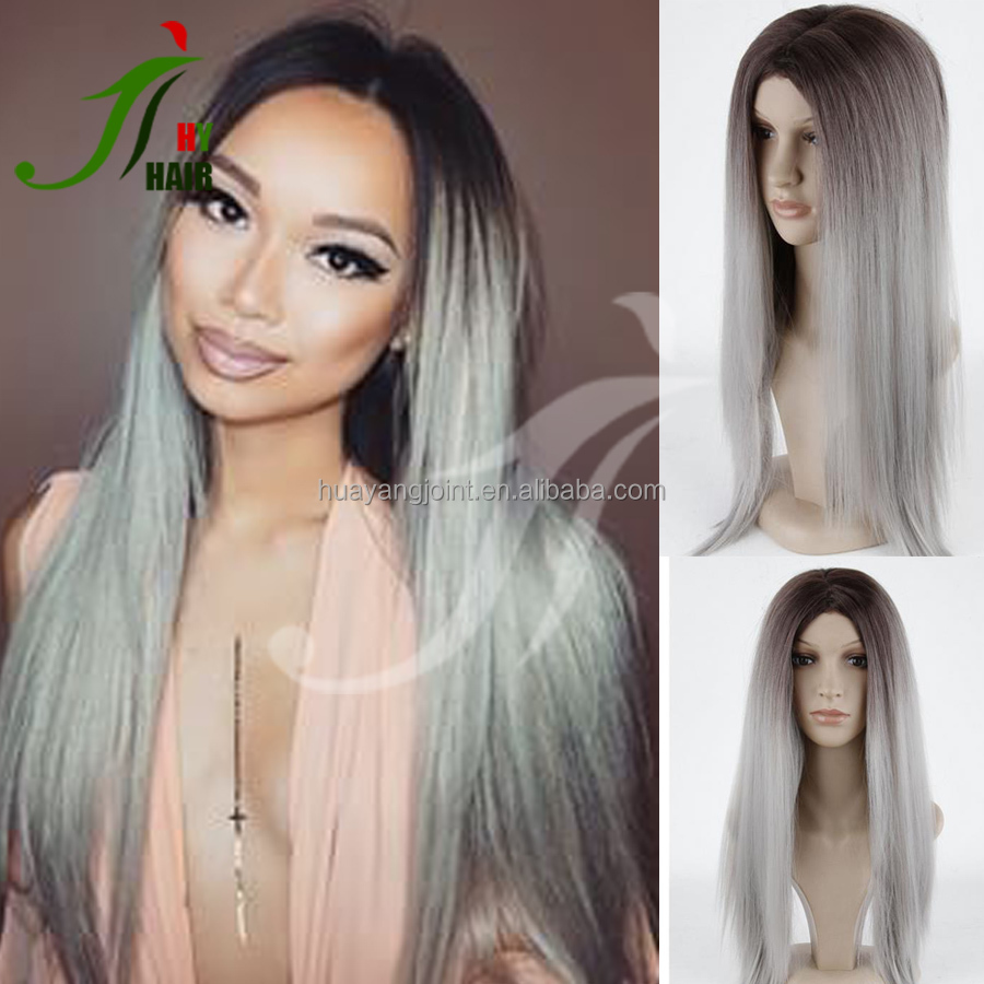 8A Virgin Hair Brazilian Full Lace Wig Silky Straight Two Tone #1b/Silver Grey Ombre Lace Front Human Hair Wigs for White Women